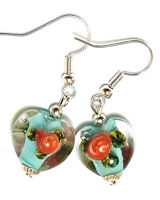*LAMPWORK TEARDROP* Blue Pink Silver Gold Flower Glass Bead SP Drop Earrings