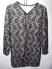 WOMENS NEW BLACK NUDE LACE LONG JACKET OVER BLOUSE MOTHER OF THE BRIDE SIZE S 38