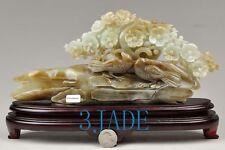 Natural Hetian Nephrite Jade Bird Flower Carving / Sculpture w/ certificate
