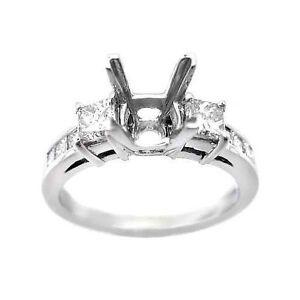 0.75ct PRINCESS CUT DIAMOND PLATINUM ENGAGEMENT SETTING