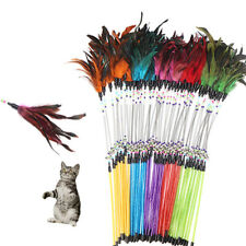PET CAT FEATHER SPRING STICK TEASER KITTEN BELL ROD WAND PLAYING TOY CHEERFUL