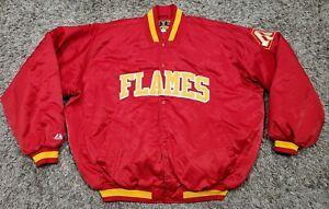 Vtg Majestic 4XL Jacket Calgary Flames Hockey Snap Red Yellow NHL Spellout Logo