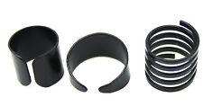 3 Anello Set Nero Anello Metallico Regolabile spalancate metà dito knuckle rings Thumb