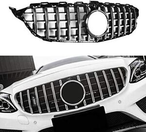 GT R Grill Grille For Mercedes Benz W205 C200 C250 C350 2015-2018 With Camera