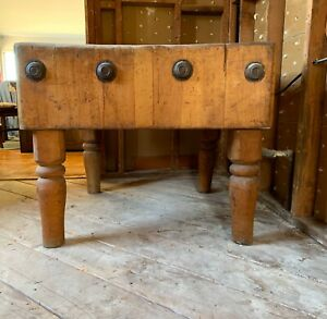 RARE Vintage Maple Butcher Block Table, Kitchen Island.
