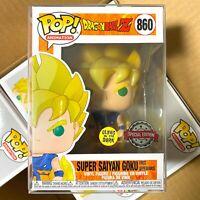 "Funko Pop Dragon Ball Z : Super Saiyan Goku (First Appearance) #860 Glows ""Mint"""