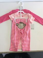 Carter's Little Layette Girl's Pink 3 Piece Outfit  Size 9M  Monkey On Pants