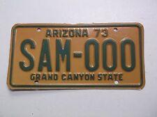 ARIZONA 1973 73 Auto SAMPLE ZERO License Plate Tag GRAND CANYON STATE Reflective