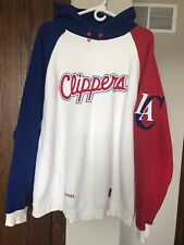 Vintage Retro Reebok Los Angeles Clippers Hoodie Size L Red Blue White