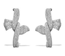 Faux Diamond Cluster Paste White Gold Plated Bowknot Stud CRYSTAL EARRINGS UK