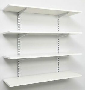 Twin Slot Shelving - Wall Mounted Brackets Uprights Shelves and Book Ends White