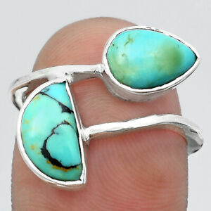 Lucky Charm Tibetan Turquoise & Turquoise Nevada 925 Silver Ring s.7.5 E856
