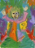 Hinkle Hands in the Air Praise Religious Folk Art oil Painting Outsider modern