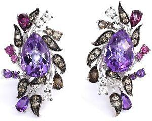 LeVian Amethyst Chocolate Diamond Garnet Earrings 9cttw 14K White Gold NEW Post