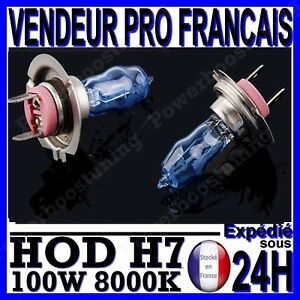 AMPOULE PLASMA HOD H7 100W LAMPE HALOGENE FEU EFET XENON BLANC BLANCHE 8000K 12v