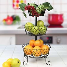 3-Tier Metal Wire Basket - Fruit Rack Holder Kitchen Bath Organizer Storage