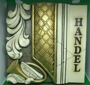 'Handel' Plaster Wall Plaque Hanging Art Piece Wall Tile Classical Antiqued