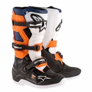 Alpine Stars Boots Tech 7S Riding Motocross Racing MX Black/Orange/Blue Youth