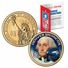 DENVER BRONCOS NFL 24KT GOLD PRESIDENTIAL $1 COIN! COA & DISPLAY STAND!