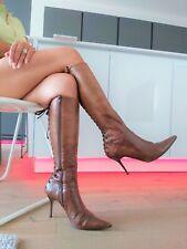 Sexy Paolo Biondini High Heel Stiletto Leder Stiefel Boots Spitz 39 Vero Cuoio