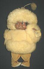 Vintage Eskimo Doll Handmade in Canada by Creations du Vagabond Wool & Leather