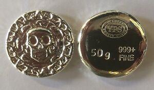 "50 gram Hand Poured 999 Silver Bullion Rd ""Plata Muerta"" (Dead Silver) by YPS"