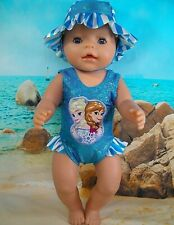 "Dolls clothes for 17"" Baby Born Doll~FROZEN SISTERS TURQUOISE SWIMMING COSTUME"