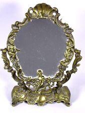 Antigua de latón prunckspiegel, frisierspiegel con Putten, aprox. 34 cm h 4t557