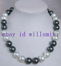 "Fashion 10mm White / Black South Sea Shell Pearl Gemstones Beads Necklace 18""AAA"