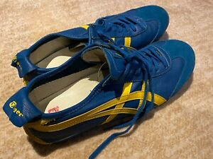 Mens ONITSUKA TIGER Mexico 66 Deluxe Blue/Yellow Leather Sneakers Shoes Sz US11