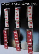 6 Pinces à linge épingles décoratives rouge et blanc aimantées déco scrapbooking