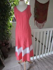 M&S Red/Pink Flared Maxi Dress 50% Linen Dress Size M Excellent Condition