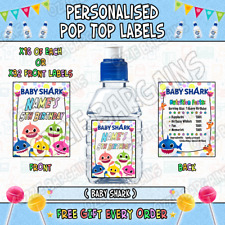 Personalised Pop Top Sticker Labels - BABY SHARK - x32 Large Labels