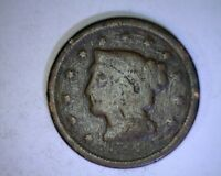 1848 Braided Hair Large Cent 1c old penny ( # 29s73 )