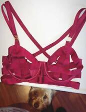 Victoria Secret Dark Red Bandage Unlined Strappy Demi Bra 10D Maroon Lingerin
