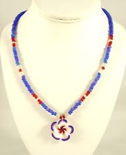 New Hawaiian Tropical Hibiscus Flower Pendant Necklace with Glass Beads #N2430A