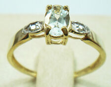 SYJEWELLERY 9CT YELLOW GOLD OVAL NATURAL AQUAMARINE & DIAMOND RING   R1148