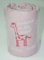 Personalised Embroidered Baby Fleece Blanket Girls Boys NewBorn Gift Giraffe