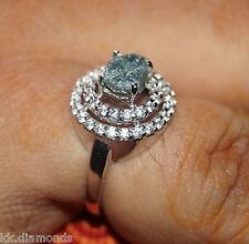 1.50 ct Natural Raw Blue diamond ring Uncut rough diamond ring 925 silver NR00