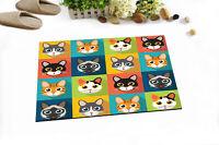 Cartoon Cute Cats Head Pattern Kitchen Bathroom Bath Door Floor Mat Bathmat Rug