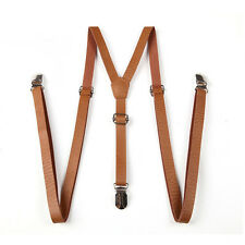 Newly Men Suspenders Retro Y-Back Clip-on Brown Faux Leather Clothes Belt Braces