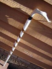 orig white spiral walnut Deer antler DRESS CANE walking stick signed useful gift