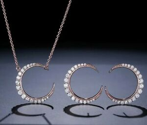 Crystal Crescent Necklace and Earrings Set - New in Gift Box