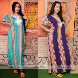 Kaftan Dress Moroccan Maxi Dress Cotton White Embroidery Womens Casual Eid Gift