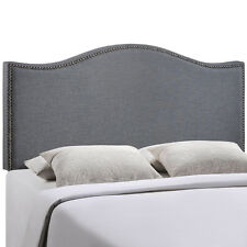 LexMod Curl Queen Nailhead Upholstered Headboard Category Bedroom Color Smoke