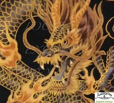 RPFTP015D Japanese Asian Dragon Gold Black Fire Cloud Cotton Quilt Fabric