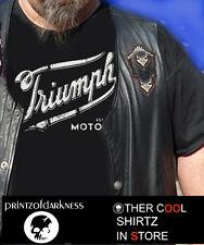 MENS TRIUMPH MOTORCYCLE  BLACK T Shirt  S M L XL 2XL 3XL  Vintage Logo FREE POST