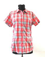 The North Face Womens Shirt Outdoor Top Red Blue Plaid Short Sleeve Size M Mesh
