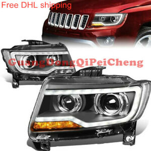 Front Bumper LED Bi-xenon Lamps HID Headlights For 2011-2013 Jeep Grand Cherokee