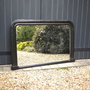 Large Antique Victorian Painted Black Overmantle Wall Mirror Foxed 104cm x 68cm